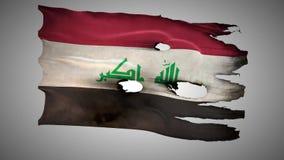 伊拉克穿孔了,烧,难看的东西挥动的旗子圈阿尔法 向量例证