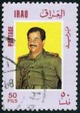 伊拉克- 1986年:显示萨达姆・侯赛因Abd AlMajid AlTikriti画象1937-2006 免版税库存图片