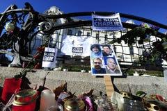 伊斯兰教的恐怖袭击的受害者的守夜在巴黎 库存图片