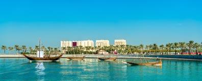 伊斯兰教的艺术博物馆的Mia公园在多哈,卡塔尔 免版税库存图片