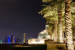 伊斯兰教的艺术美丽的博物馆在多哈,卡塔尔在晚上 免版税库存图片