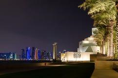 伊斯兰教的艺术美丽的博物馆在多哈,卡塔尔在晚上 免版税库存照片