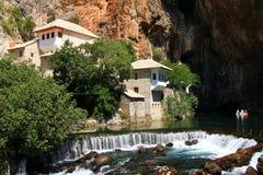 伊斯兰教苦行僧房子在Blagaj,波斯尼亚黑塞哥维那 免版税库存图片