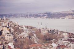 伊斯坦布尔全景从加拉塔塔,土耳其的 图库摄影
