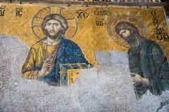 伊斯坦布尔土耳其:2016年4月10日 圣索非亚大教堂Ayasofya的内部在伊斯坦布尔,土耳其-建筑片段 免版税库存照片