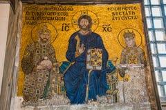 伊斯坦布尔土耳其:2016年4月10日 圣索非亚大教堂Ayasofya的内部在伊斯坦布尔,土耳其-建筑片段 免版税库存图片