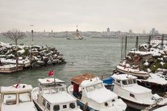 伊斯坦布尔在冬天 库存照片