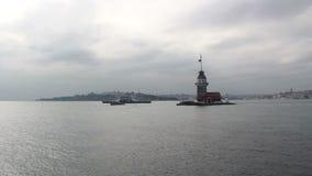伊斯坦布尔市,少女` s耸立,土耳其12月2016年, 股票录像