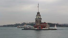 伊斯坦布尔市,少女` s耸立,土耳其12月2016年, 股票视频