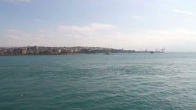 伊斯坦布尔市,海wawe,少女塔,土耳其12月2016年, 股票视频