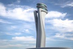 伊斯坦布尔新的机场空中交通管理塔  免版税库存图片