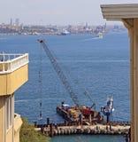 伊斯坦布尔的欧洲部分的船坞 库存照片