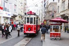 伊斯坦布尔红色电车 库存图片