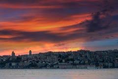 伊斯坦布尔风景日落的 火鸡 免版税库存照片