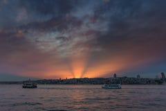 伊斯坦布尔风景日落的 火鸡 库存照片