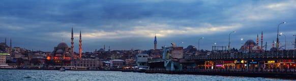 伊斯坦布尔,土耳其全景在晚上 库存照片