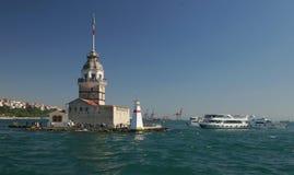 伊斯坦布尔,土耳其少女塔  库存图片