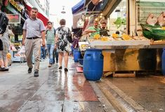 伊斯坦布尔,土耳其- 2017年6月02日:人们在鱼市上在Kadik 库存照片