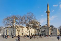 伊斯坦布尔,土耳其- 2012年3月26日:苏丹Bayazid ` s清真寺 免版税库存图片