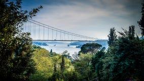 伊斯坦布尔,土耳其- 2012年10月22日, :连接亚洲和欧洲的Bosphorus桥梁 库存图片