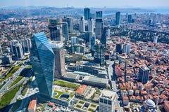 伊斯坦布尔,土耳其- 2017年4月3日, :Arial视图勒旺商业区 免版税库存照片