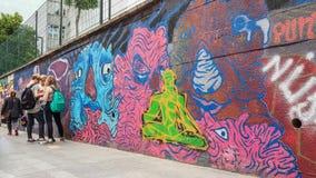 伊斯坦布尔,土耳其- 2017年6月02日:在墙壁上绘的五颜六色的画象街道画在伊斯坦布尔市Kadikoy区  免版税库存照片