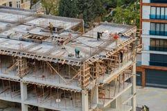 伊斯坦布尔,土耳其- 2016年11月09日:工作在建造场所的工作者 免版税图库摄影
