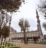 伊斯坦布尔,土耳其- 2014年11月22日:苏丹阿哈迈德清真寺(一般叫作蓝色清真寺) 免版税库存图片