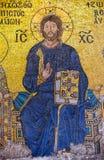 伊斯坦布尔,土耳其- 11月20 :显示耶稣Chri的拜占庭式的马赛克 免版税库存照片