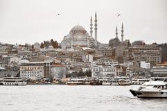 伊斯坦布尔,土耳其- 11月23 :苏丹从Bosphorus的边的阿哈迈德清真寺看法在黑白照片的2014年11月23日 免版税库存图片
