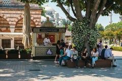 伊斯坦布尔, 2017年6月15日:基于长凳的人在美丽的树和供营商附近在Kamaras工作 免版税库存图片