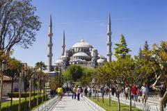 伊斯坦布尔, Sultanahmet地区的看法在一个晴朗的夏日, 库存图片