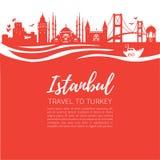 伊斯坦布尔 旅行向土耳其 著名土耳其地标的现代平的传染媒介例证:加拉塔石塔,博斯普鲁斯海峡桥梁,蓝色Mosq 向量例证