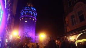 伊斯坦布尔/galata塔/夜/2015年12月 影视素材