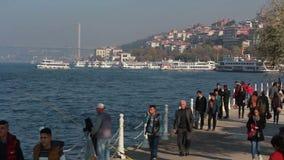 伊斯坦布尔/sea/bridge/december 2015年 股票录像