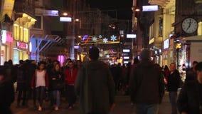 伊斯坦布尔istiklal街道,土耳其12月2016年, 股票视频