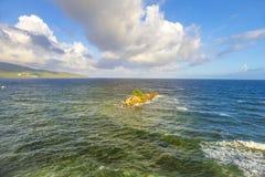 伊斯帕尼奥拉岛,多米尼加共和国海岛  从isla的看法 免版税库存照片