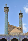 伊斯法罕,伊朗贾梅清真寺的尖塔  免版税库存照片