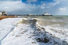 伊斯特本,东部SUSSEX/UK - 10月21日:风暴布里亚的尾声 免版税库存照片