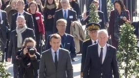 伊曼纽尔Macron法国总统和Thorbjorn亚格兰秘书长 影视素材