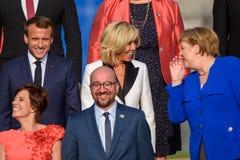 伊曼纽尔Macron,布丽吉特Macron,安格拉・默克尔, Amelie Derbaudrenghien,查尔斯米谢尔 免版税图库摄影