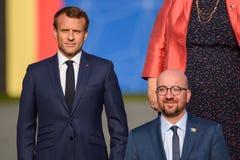 伊曼纽尔Macron,法国的总统和查尔斯米谢尔,比利时的总理 免版税库存照片