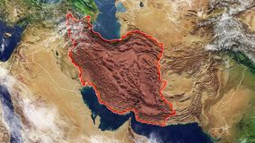 伊朗和边界地图  向量例证
