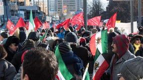 伊朗抗议者团结的集会,多伦多,安大略 免版税库存图片