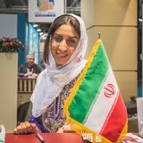 伊朗立场的女主人在位2015年,国际旅游业交换在米兰,意大利 免版税库存图片