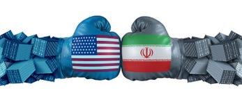 伊朗美国或美国经济制裁相冲突与两反对的贸易伙伴作为进口和出口争执概念与 库存例证