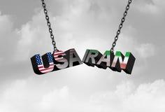 伊朗美国相冲突概念作为美国和伊朗安全危机由于经济制裁和核成交协议争执 库存例证