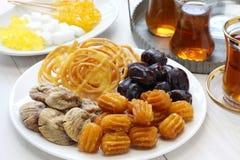 伊朗茶和甜点 库存照片