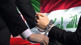 伊朗认可伊拉克,被束缚的胳膊,政治或者经济冲突,商业禁令 股票录像