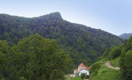 伊杰万范围的树木丛生的谷 在Haghartsin附近修道院  的臂章 免版税图库摄影